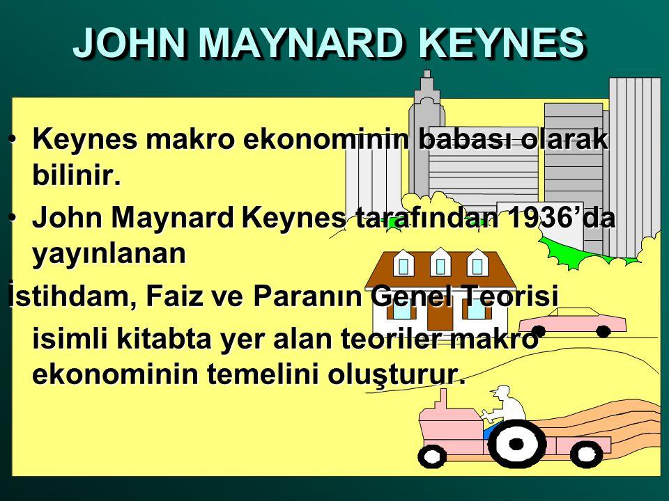 JOHN MAYNARD KEYNES •Keynes makro ekonominin babası olarak bilinir. •John Maynard Keynes tarafından 1936'da yayınlanan İstihdam, Faiz ve Paranın Genel