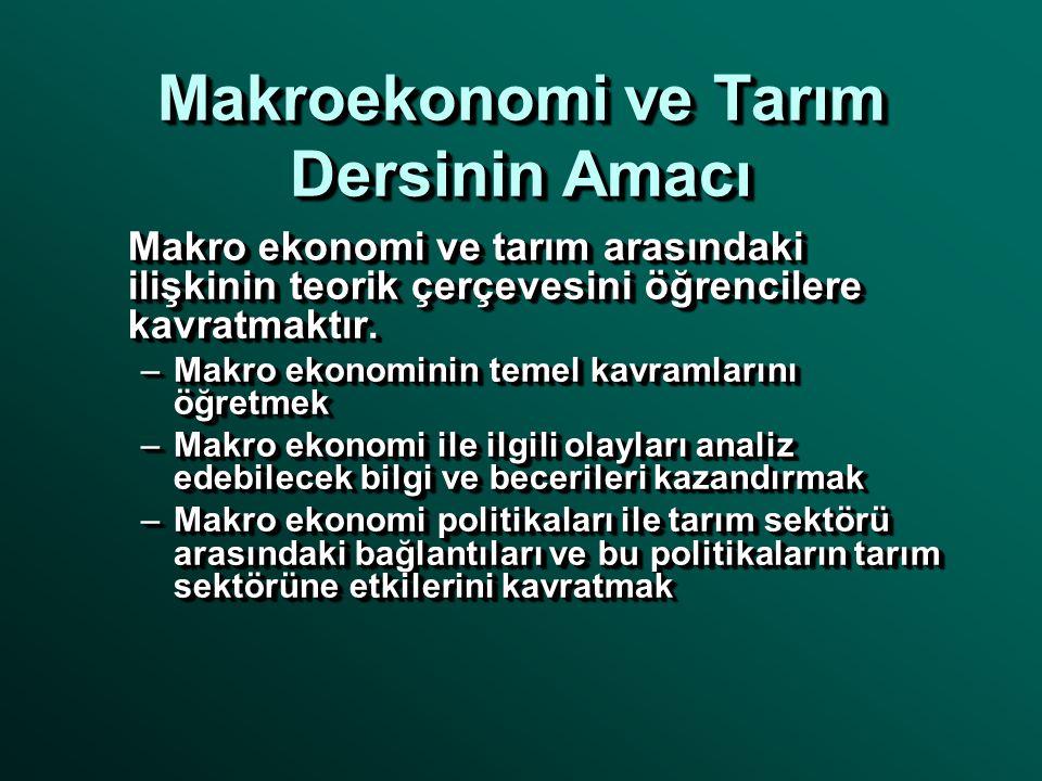 Makroekonomi ve Tarım Dersinin Amacı Makro ekonomi ve tarım arasındaki ilişkinin teorik çerçevesini öğrencilere kavratmaktır. –Makro ekonominin temel