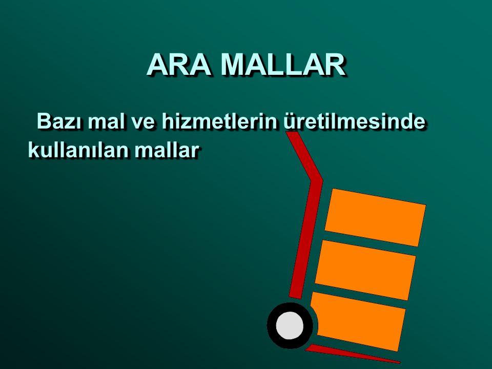 ARA MALLAR Bazı mal ve hizmetlerin üretilmesinde kullanılan mallar Bazı mal ve hizmetlerin üretilmesinde kullanılan mallar
