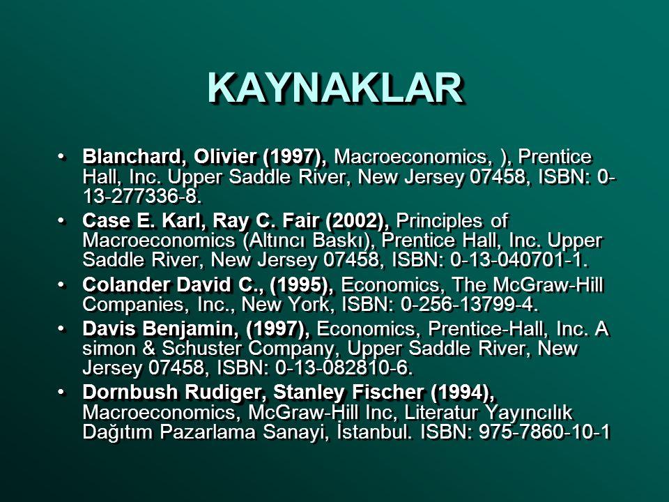 KAYNAKLARKAYNAKLAR •Blanchard, Olivier (1997), •Blanchard, Olivier (1997), Macroeconomics, ), Prentice Hall, Inc.
