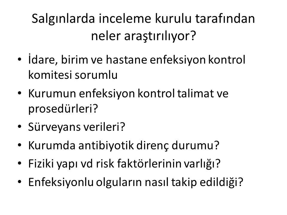 Salgınlarda inceleme kurulu tarafından neler araştırılıyor? • İdare, birim ve hastane enfeksiyon kontrol komitesi sorumlu • Kurumun enfeksiyon kontrol
