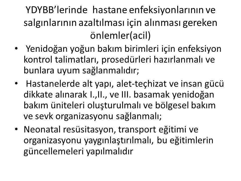 YDYBB'lerinde hastane enfeksiyonlarının ve salgınlarının azaltılması için alınması gereken önlemler(acil) • Yenidoğan yoğun bakım birimleri için enfek