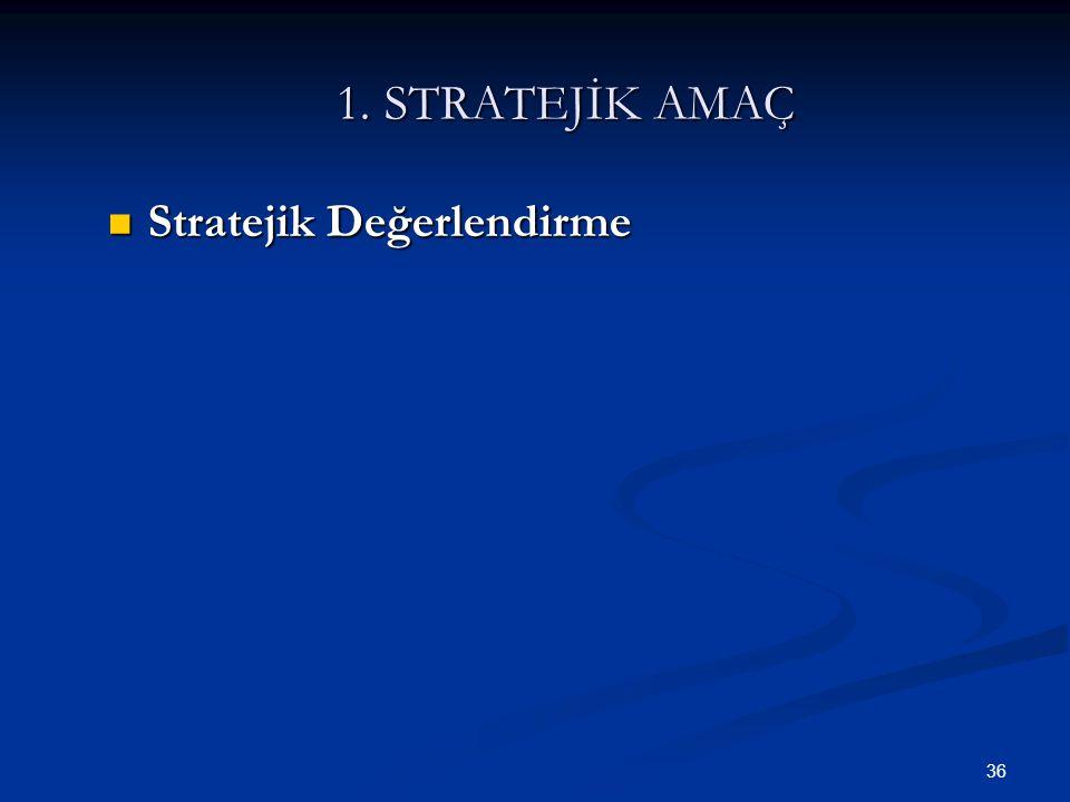 36 1. STRATEJİK AMAÇ  Stratejik Değerlendirme