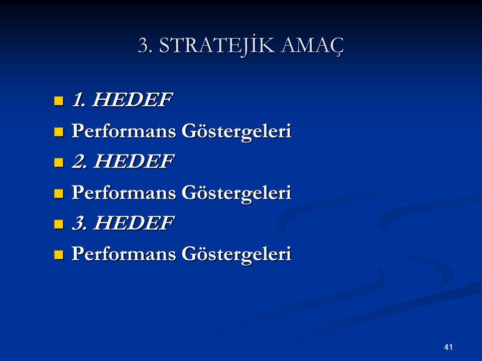 41 3. STRATEJİK AMAÇ  1. HEDEF  Performans Göstergeleri  2. HEDEF  Performans Göstergeleri  3. HEDEF  Performans Göstergeleri