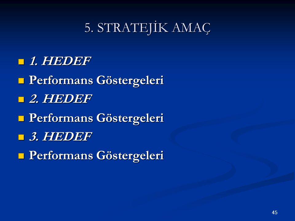 45 5. STRATEJİK AMAÇ  1. HEDEF  Performans Göstergeleri  2. HEDEF  Performans Göstergeleri  3. HEDEF  Performans Göstergeleri