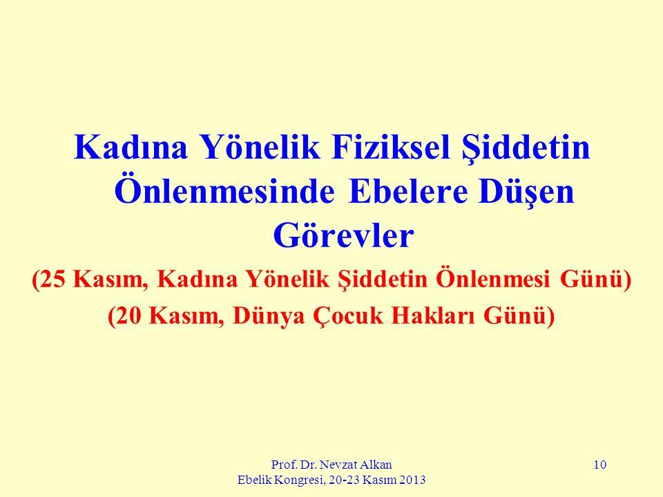 Prof. Dr. Nevzat Alkan Ebelik Kongresi, 20-23 Kasım 2013 10 Kadına Yönelik Fiziksel Şiddetin Önlenmesinde Ebelere Düşen Görevler (25 Kasım, Kadına Yön
