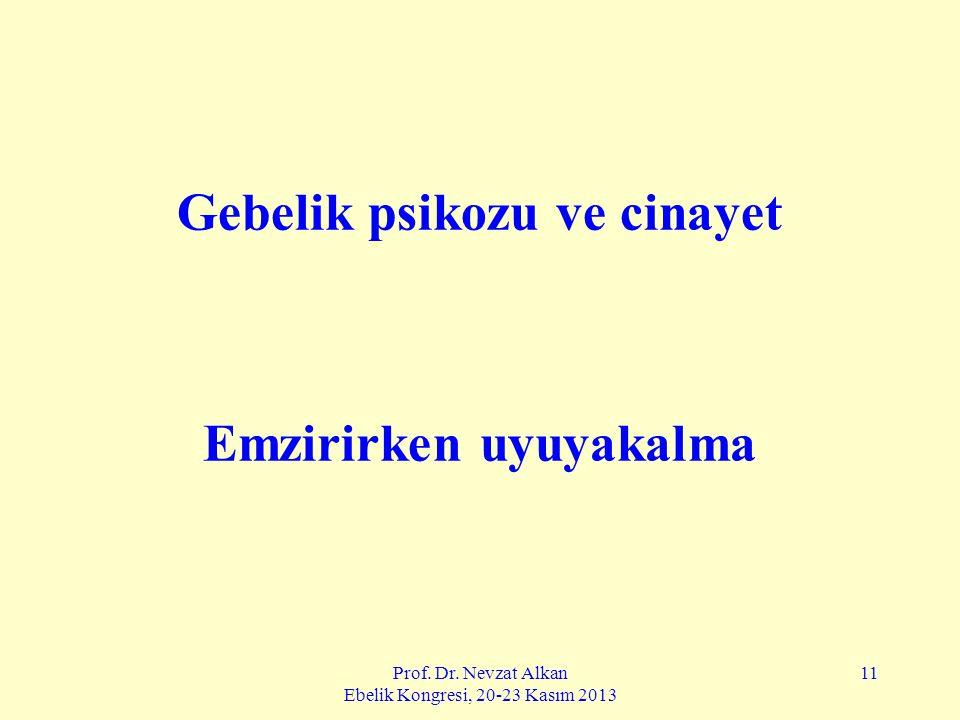 Prof. Dr. Nevzat Alkan Ebelik Kongresi, 20-23 Kasım 2013 11 Gebelik psikozu ve cinayet Emzirirken uyuyakalma