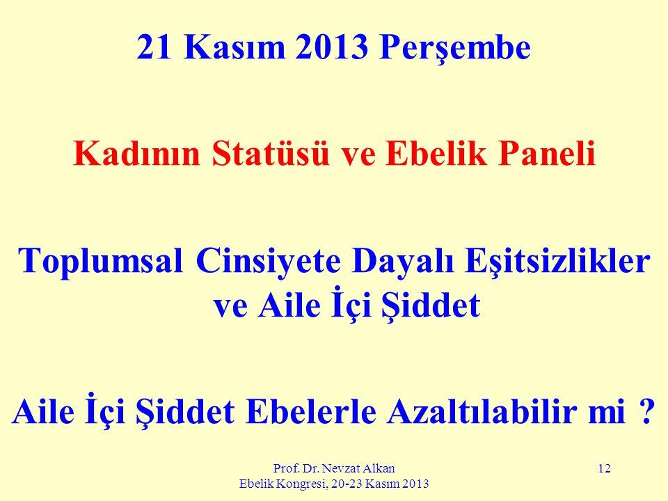 Prof. Dr. Nevzat Alkan Ebelik Kongresi, 20-23 Kasım 2013 12 21 Kasım 2013 Perşembe Kadının Statüsü ve Ebelik Paneli Toplumsal Cinsiyete Dayalı Eşitsiz