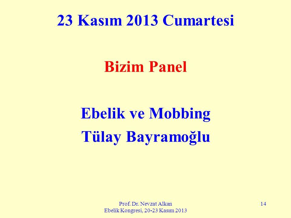 Prof. Dr. Nevzat Alkan Ebelik Kongresi, 20-23 Kasım 2013 14 23 Kasım 2013 Cumartesi Bizim Panel Ebelik ve Mobbing Tülay Bayramoğlu