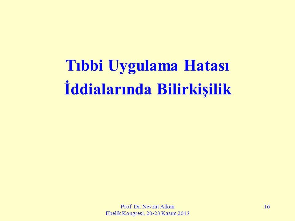 Prof. Dr. Nevzat Alkan Ebelik Kongresi, 20-23 Kasım 2013 16 Tıbbi Uygulama Hatası İddialarında Bilirkişilik