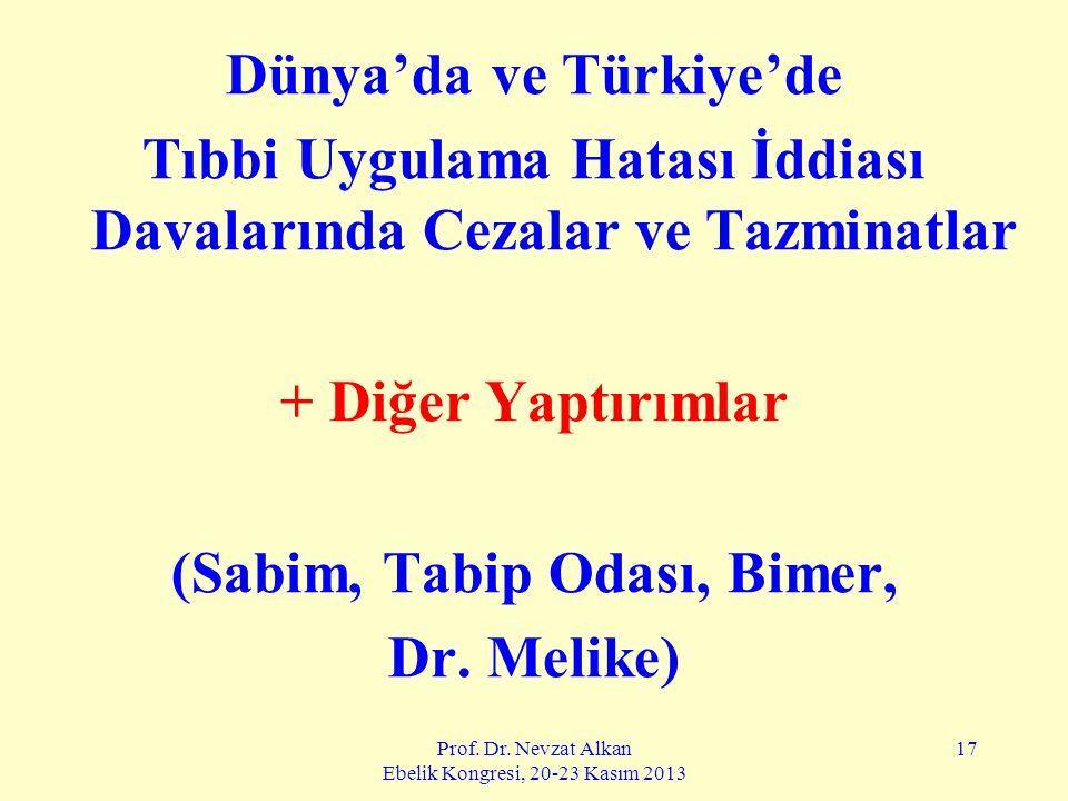 Prof. Dr. Nevzat Alkan Ebelik Kongresi, 20-23 Kasım 2013 17 Dünya'da ve Türkiye'de Tıbbi Uygulama Hatası İddiası Davalarında Cezalar ve Tazminatlar +