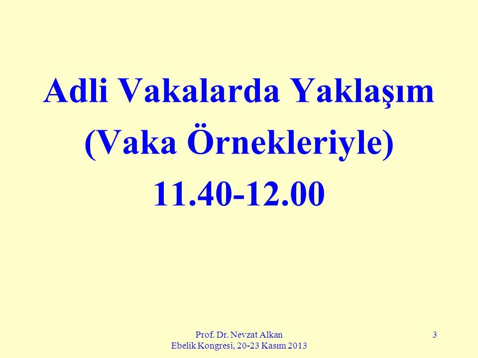 Prof. Dr. Nevzat Alkan Ebelik Kongresi, 20-23 Kasım 2013 3 Adli Vakalarda Yaklaşım (Vaka Örnekleriyle) 11.40-12.00