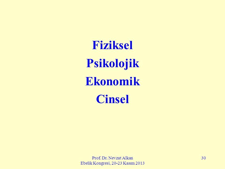 Prof. Dr. Nevzat Alkan Ebelik Kongresi, 20-23 Kasım 2013 30 Fiziksel Psikolojik Ekonomik Cinsel