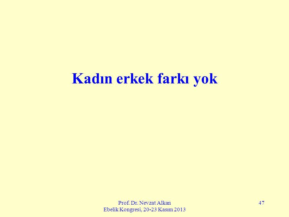 Prof. Dr. Nevzat Alkan Ebelik Kongresi, 20-23 Kasım 2013 47 Kadın erkek farkı yok