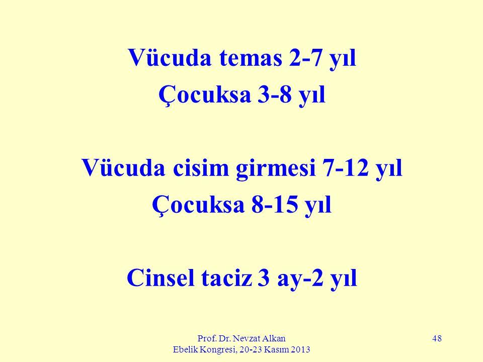 Prof. Dr. Nevzat Alkan Ebelik Kongresi, 20-23 Kasım 2013 48 Vücuda temas 2-7 yıl Çocuksa 3-8 yıl Vücuda cisim girmesi 7-12 yıl Çocuksa 8-15 yıl Cinsel