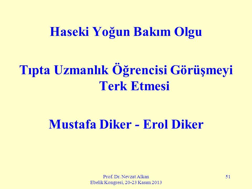 Prof. Dr. Nevzat Alkan Ebelik Kongresi, 20-23 Kasım 2013 51 Haseki Yoğun Bakım Olgu Tıpta Uzmanlık Öğrencisi Görüşmeyi Terk Etmesi Mustafa Diker - Ero