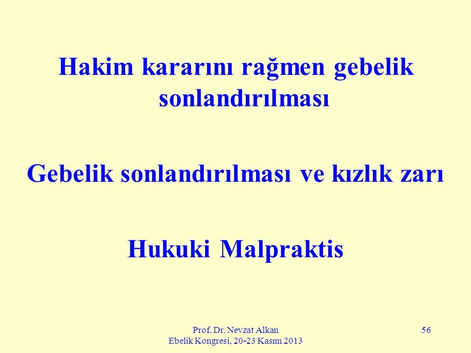 Prof. Dr. Nevzat Alkan Ebelik Kongresi, 20-23 Kasım 2013 56 Hakim kararını rağmen gebelik sonlandırılması Gebelik sonlandırılması ve kızlık zarı Hukuk