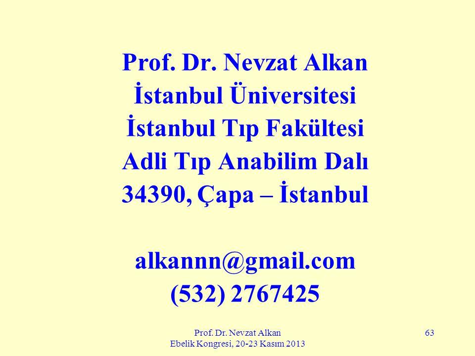 Prof. Dr. Nevzat Alkan Ebelik Kongresi, 20-23 Kasım 2013 63 Prof. Dr. Nevzat Alkan İstanbul Üniversitesi İstanbul Tıp Fakültesi Adli Tıp Anabilim Dalı