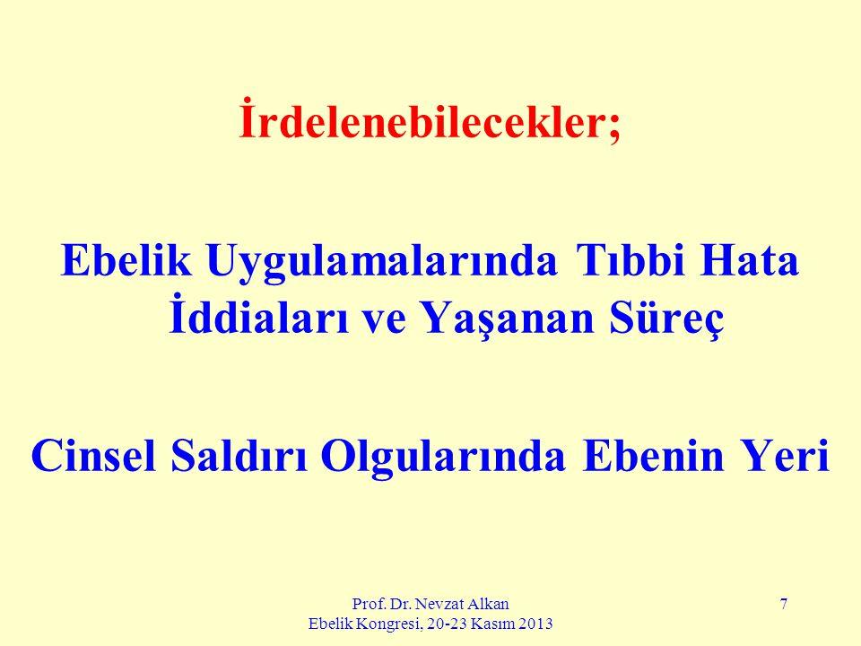 Prof. Dr. Nevzat Alkan Ebelik Kongresi, 20-23 Kasım 2013 7 İrdelenebilecekler; Ebelik Uygulamalarında Tıbbi Hata İddiaları ve Yaşanan Süreç Cinsel Sal