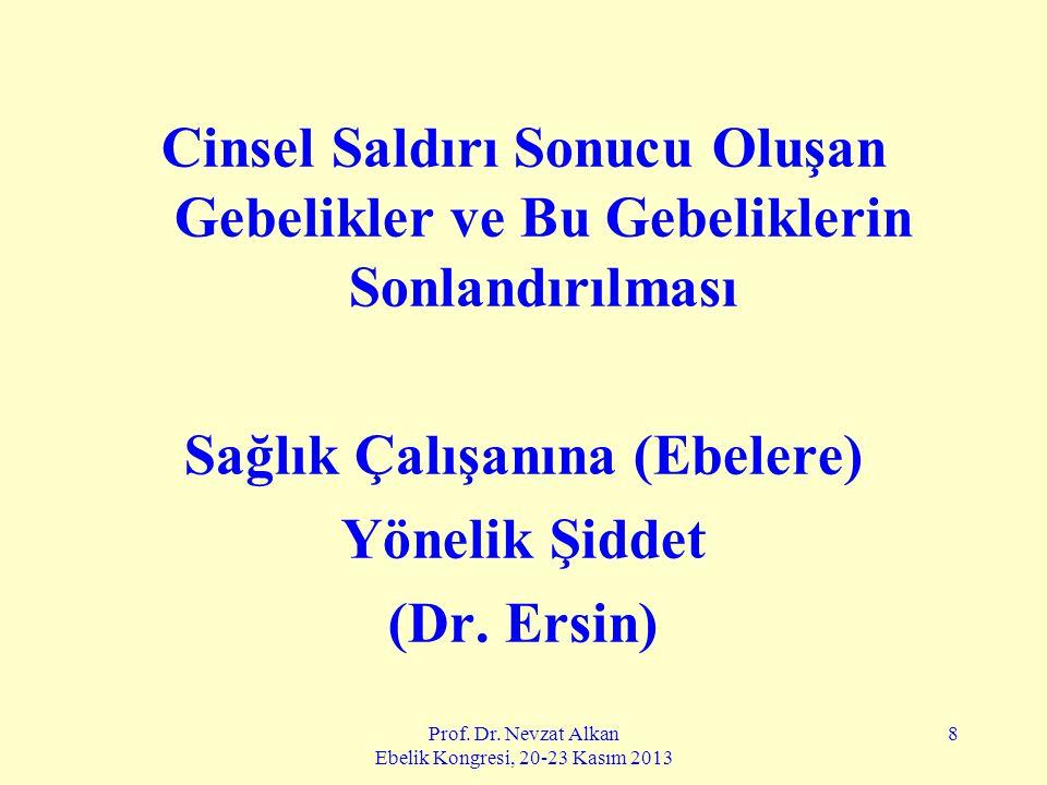 Prof. Dr. Nevzat Alkan Ebelik Kongresi, 20-23 Kasım 2013 8 Cinsel Saldırı Sonucu Oluşan Gebelikler ve Bu Gebeliklerin Sonlandırılması Sağlık Çalışanın