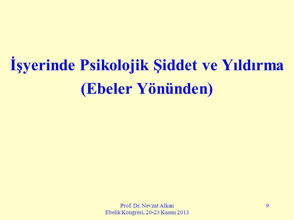 Prof. Dr. Nevzat Alkan Ebelik Kongresi, 20-23 Kasım 2013 9 İşyerinde Psikolojik Şiddet ve Yıldırma (Ebeler Yönünden)