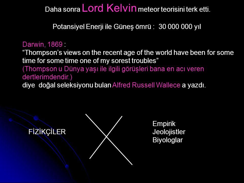 Daha sonra Lord Kelvin meteor teorisini terk etti.