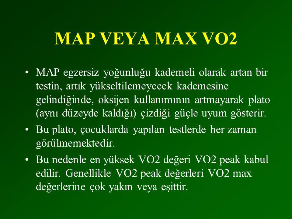 MAP VEYA MAX VO2 •MAP egzersiz yoğunluğu kademeli olarak artan bir testin, artık yükseltilemeyecek kademesine gelindiğinde, oksijen kullanımının artmayarak plato (aynı düzeyde kaldığı) çizdiği güçle uyum gösterir.