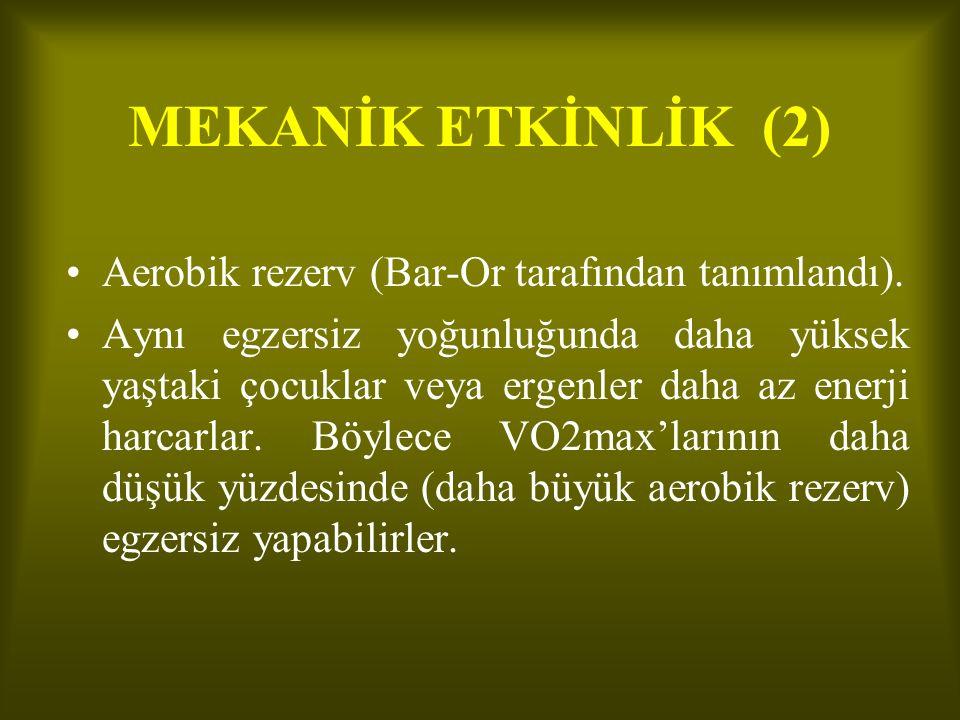 MEKANİK ETKİNLİK (2) •Aerobik rezerv (Bar-Or tarafından tanımlandı).