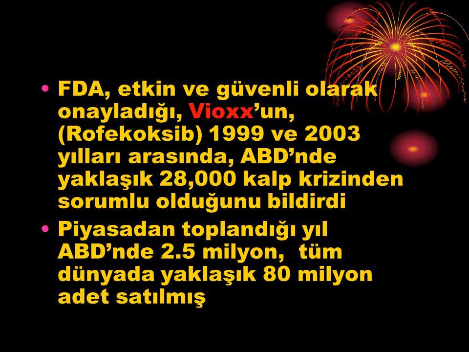 •FDA, etkin ve güvenli olarak onayladığı, Vioxx'un, (Rofekoksib) 1999 ve 2003 yılları arasında, ABD'nde yaklaşık 28,000 kalp krizinden sorumlu olduğunu bildirdi •Piyasadan toplandığı yıl ABD'nde 2.5 milyon, tüm dünyada yaklaşık 80 milyon adet satılmış