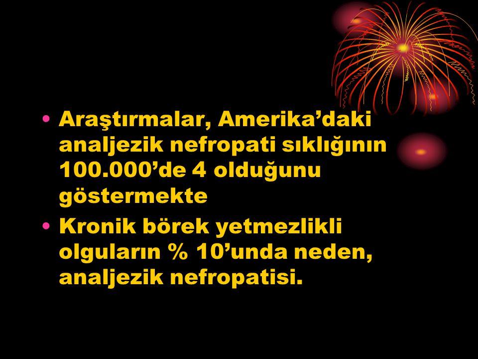 •Araştırmalar, Amerika'daki analjezik nefropati sıklığının 100.000'de 4 olduğunu göstermekte •Kronik börek yetmezlikli olguların % 10'unda neden, analjezik nefropatisi.
