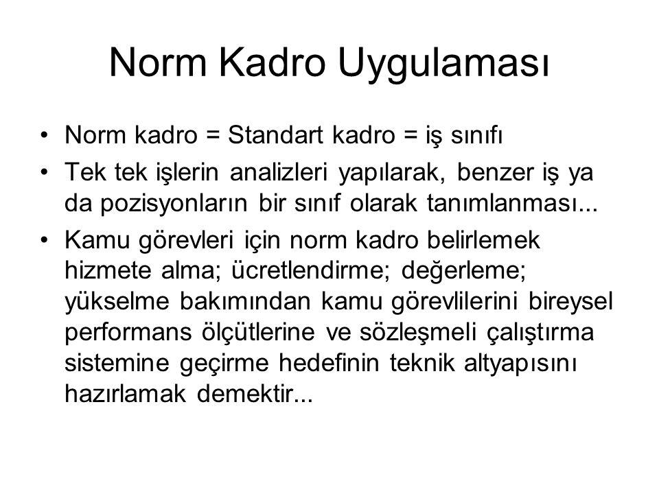 Norm Kadro Uygulaması •Norm kadro = Standart kadro = iş sınıfı •Tek tek işlerin analizleri yapılarak, benzer iş ya da pozisyonların bir sınıf olarak t