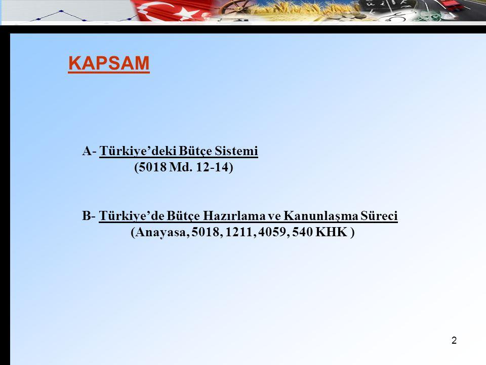2 A- Türkiye'deki Bütçe Sistemi (5018 Md. 12-14) B- Türkiye'de Bütçe Hazırlama ve Kanunlaşma Süreci (Anayasa, 5018, 1211, 4059, 540 KHK ) KAPSAM