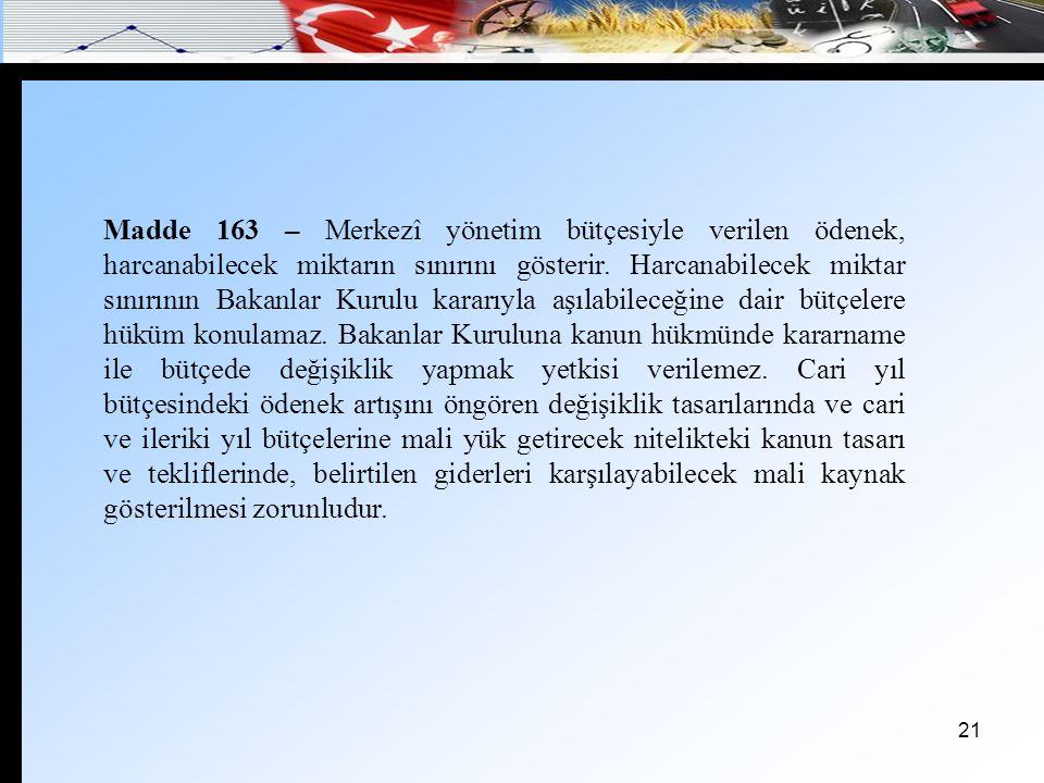 22 Madde 164 – Kesin hesap kanunu tasarıları, kanunda daha kısa bir süre kabul edilmemiş ise, ilgili oldukları mali yılın sonundan başlayarak, en geç yedi ay sonra Bakanlar Kurulunca Türkiye Büyük Millet Meclisine sunulur.