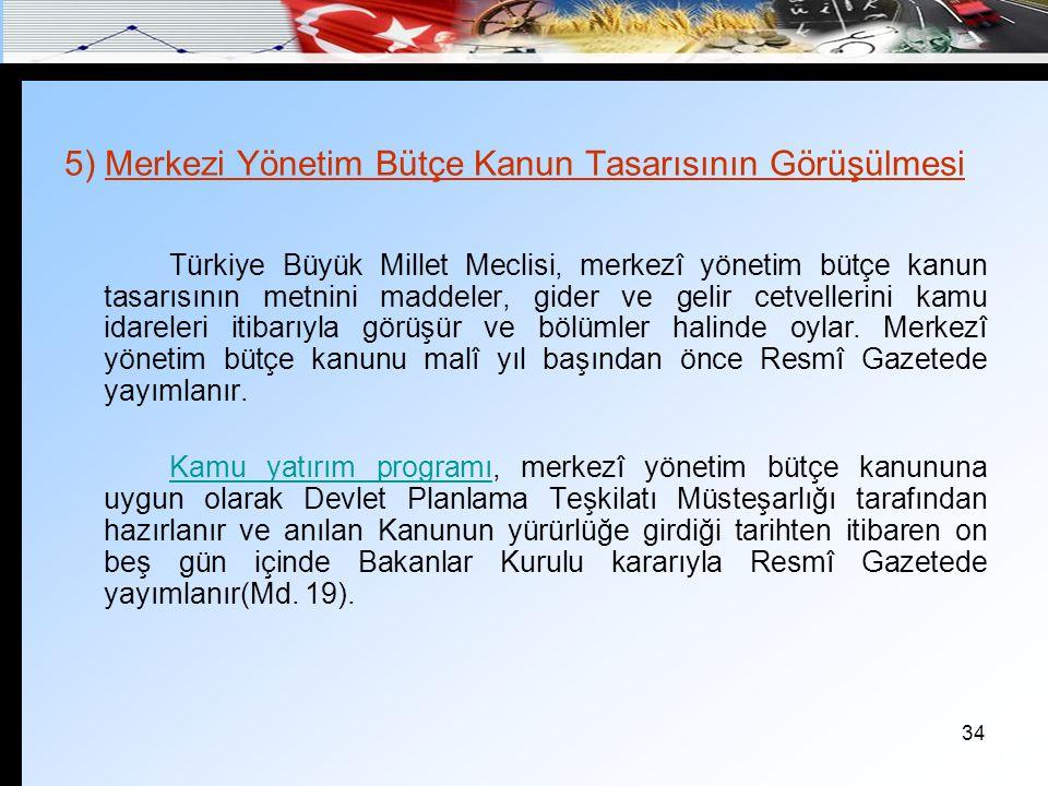34 5) Merkezi Yönetim Bütçe Kanun Tasarısının Görüşülmesi Türkiye Büyük Millet Meclisi, merkezî yönetim bütçe kanun tasarısının metnini maddeler, gide