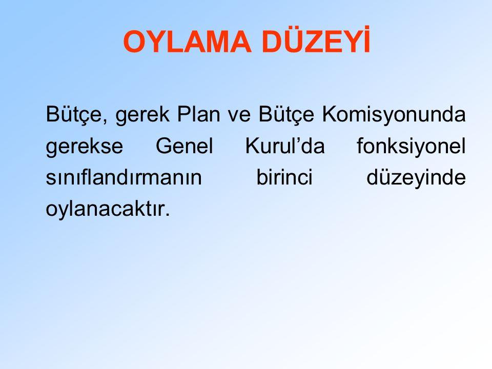 OYLAMA DÜZEYİ Bütçe, gerek Plan ve Bütçe Komisyonunda gerekse Genel Kurul'da fonksiyonel sınıflandırmanın birinci düzeyinde oylanacaktır.