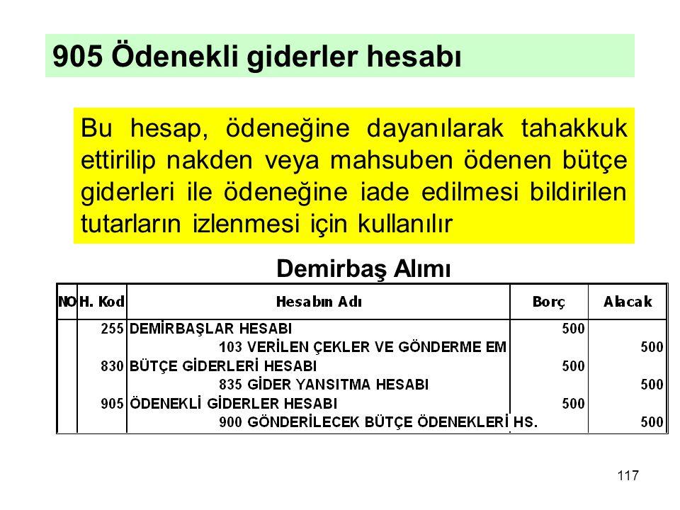 Bu hesap, ödeneğine dayanılarak tahakkuk ettirilip nakden veya mahsuben ödenen bütçe giderleri ile ödeneğine iade edilmesi bildirilen tutarların izlenmesi için kullanılır Demirbaş Alımı 117 905 Ödenekli giderler hesabı
