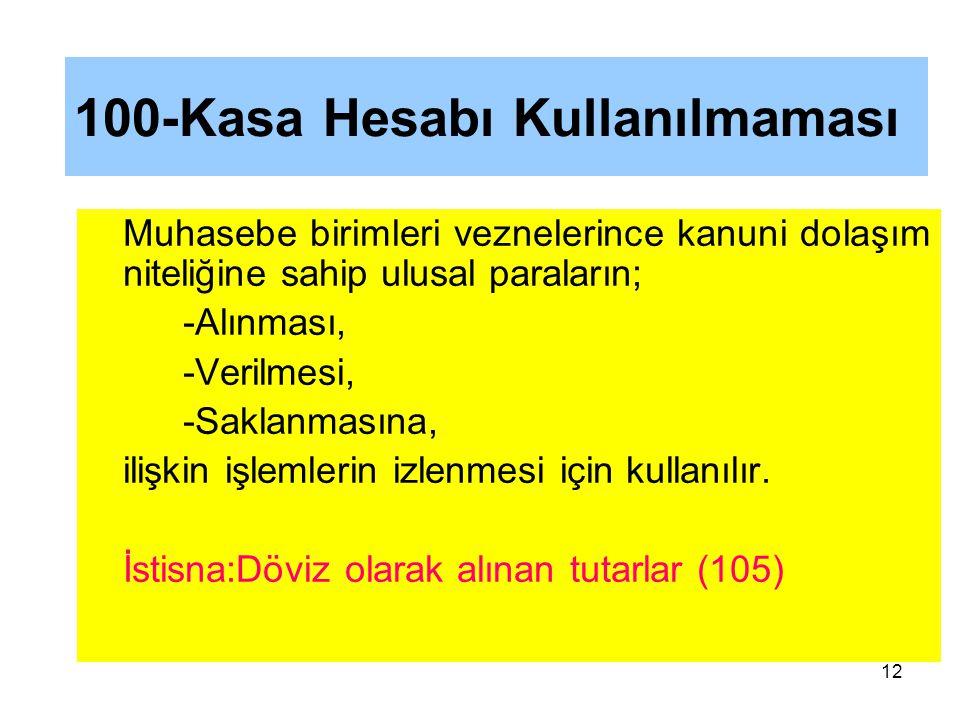 100-Kasa Hesabı Kullanılmaması Muhasebe birimleri veznelerince kanuni dolaşım niteliğine sahip ulusal paraların; -Alınması, -Verilmesi, -Saklanmasına, ilişkin işlemlerin izlenmesi için kullanılır.