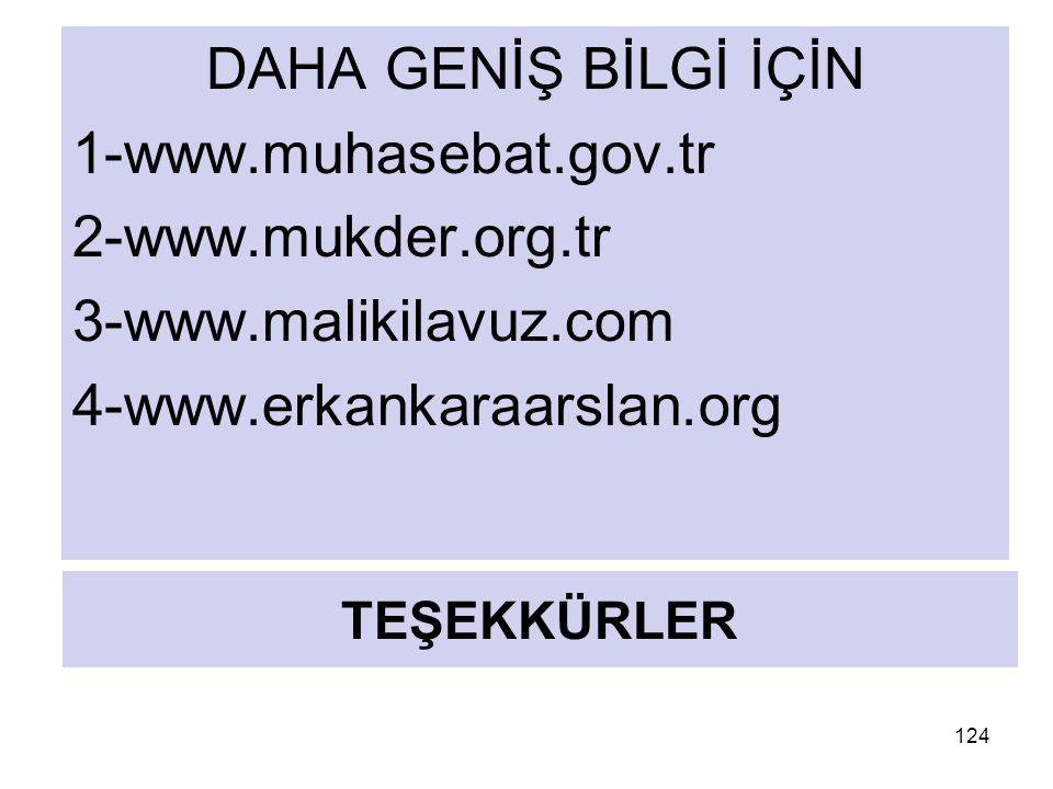 TEŞEKKÜRLER DAHA GENİŞ BİLGİ İÇİN 1-www.muhasebat.gov.tr 2-www.mukder.org.tr 3-www.malikilavuz.com 4-www.erkankaraarslan.org 124