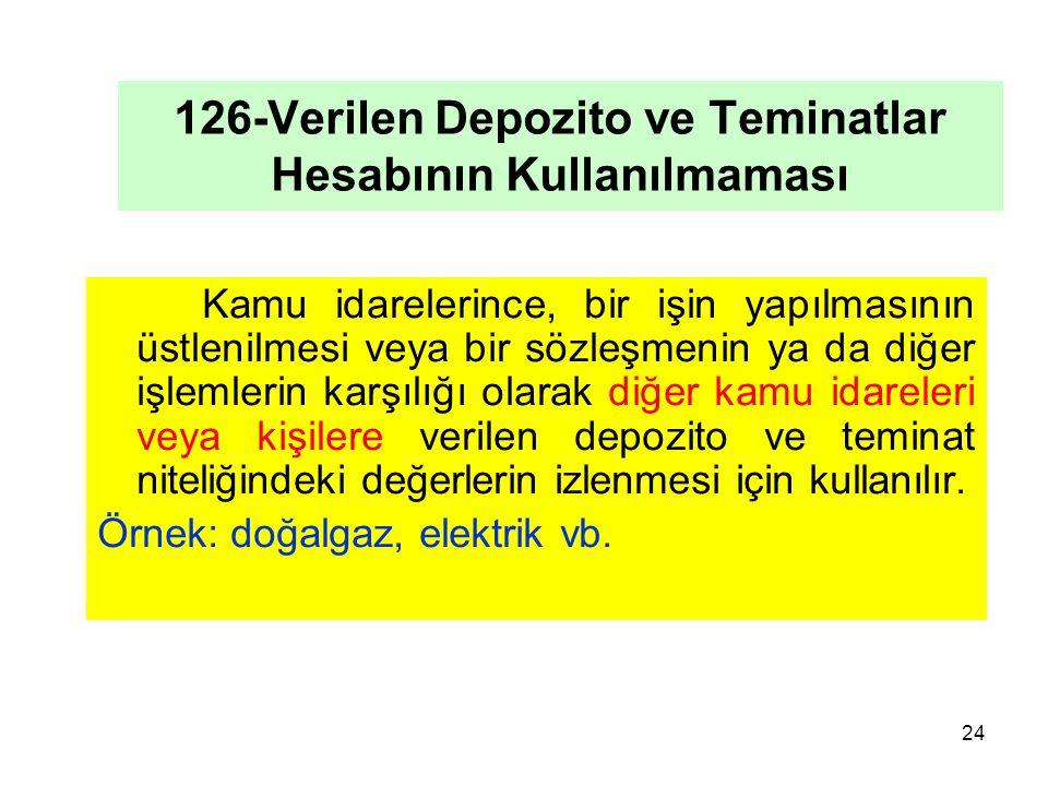 126-Verilen Depozito ve Teminatlar Hesabının Kullanılmaması Kamu idarelerince, bir işin yapılmasının üstlenilmesi veya bir sözleşmenin ya da diğer işlemlerin karşılığı olarak diğer kamu idareleri veya kişilere verilen depozito ve teminat niteliğindeki değerlerin izlenmesi için kullanılır.