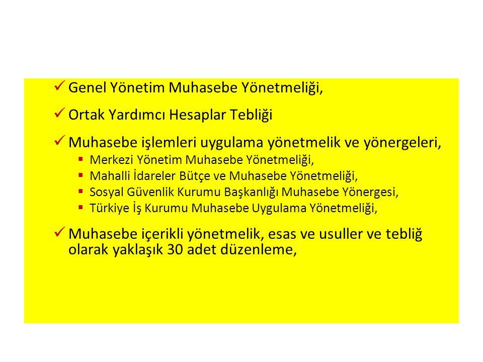  Genel Yönetim Muhasebe Yönetmeliği,  Ortak Yardımcı Hesaplar Tebliği  Muhasebe işlemleri uygulama yönetmelik ve yönergeleri,  Merkezi Yönetim Muhasebe Yönetmeliği,  Mahalli İdareler Bütçe ve Muhasebe Yönetmeliği,  Sosyal Güvenlik Kurumu Başkanlığı Muhasebe Yönergesi,  Türkiye İş Kurumu Muhasebe Uygulama Yönetmeliği,  Muhasebe içerikli yönetmelik, esas ve usuller ve tebliğ olarak yaklaşık 30 adet düzenleme,