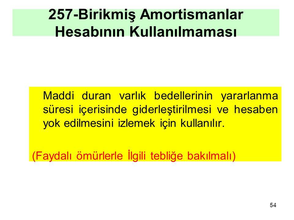 257-Birikmiş Amortismanlar Hesabının Kullanılmaması Maddi duran varlık bedellerinin yararlanma süresi içerisinde giderleştirilmesi ve hesaben yok edilmesini izlemek için kullanılır.