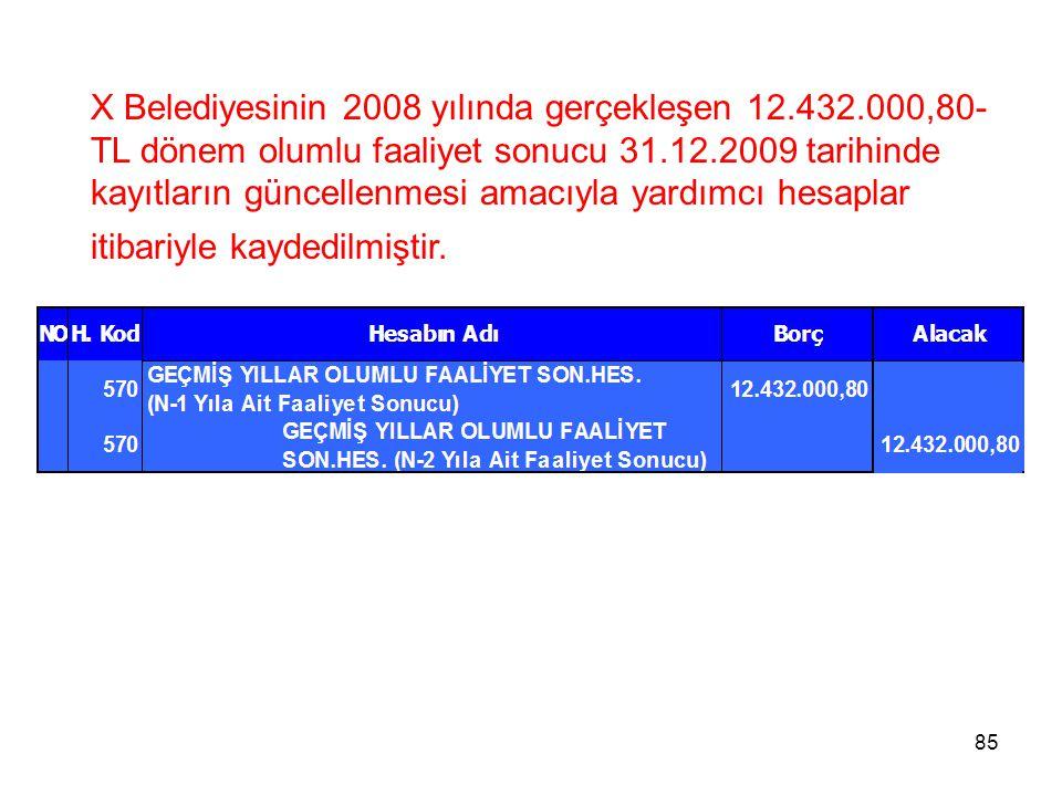 X Belediyesinin 2008 yılında gerçekleşen 12.432.000,80- TL dönem olumlu faaliyet sonucu 31.12.2009 tarihinde kayıtların güncellenmesi amacıyla yardımcı hesaplar itibariyle kaydedilmiştir.