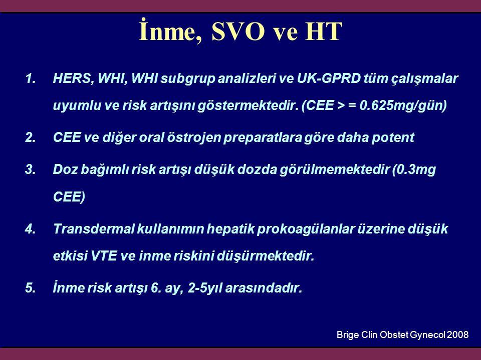 İnme, SVO ve HT 1.HERS, WHI, WHI subgrup analizleri ve UK-GPRD tüm çalışmalar uyumlu ve risk artışını göstermektedir. (CEE > = 0.625mg/gün) 2.CEE ve d