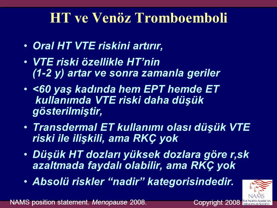 HT ve Venöz Tromboemboli •Oral HT VTE riskini artırır, •VTE riski özellikle HT'nin (1-2 y) artar ve sonra zamanla geriler •<60 yaş kadında hem EPT hem
