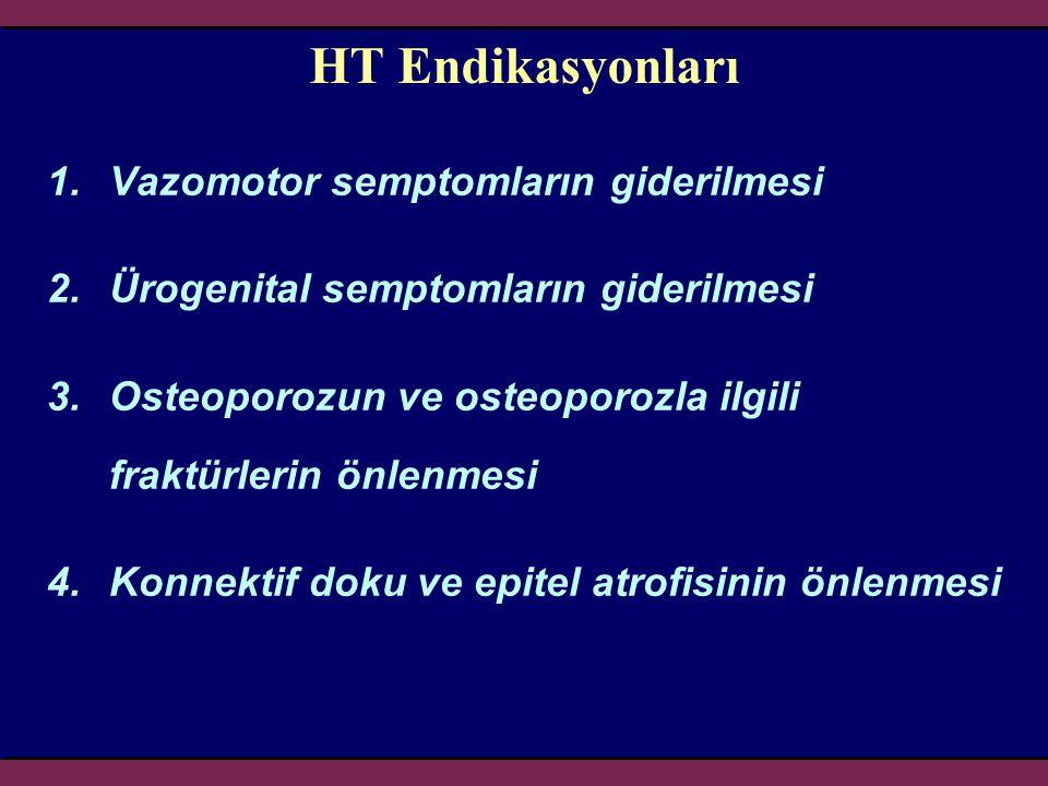 HT Endikasyonları 1.Vazomotor semptomların giderilmesi 2.Ürogenital semptomların giderilmesi 3.Osteoporozun ve osteoporozla ilgili fraktürlerin önlenm
