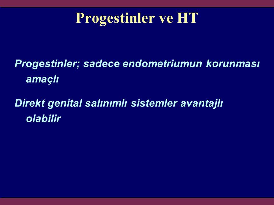 Progestinler ve HT Progestinler; sadece endometriumun korunması amaçlı Direkt genital salınımlı sistemler avantajlı olabilir