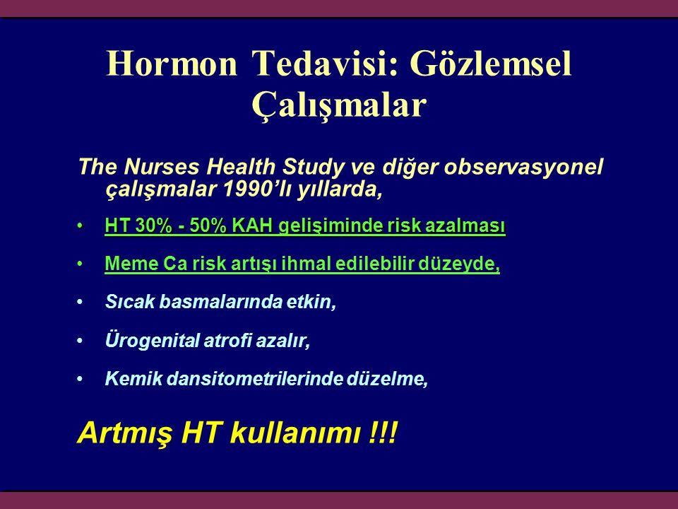 Hormon Tedavisi: Gözlemsel Çalışmalar The Nurses Health Study ve diğer observasyonel çalışmalar 1990'lı yıllarda, •HT 30% - 50% KAH gelişiminde risk a