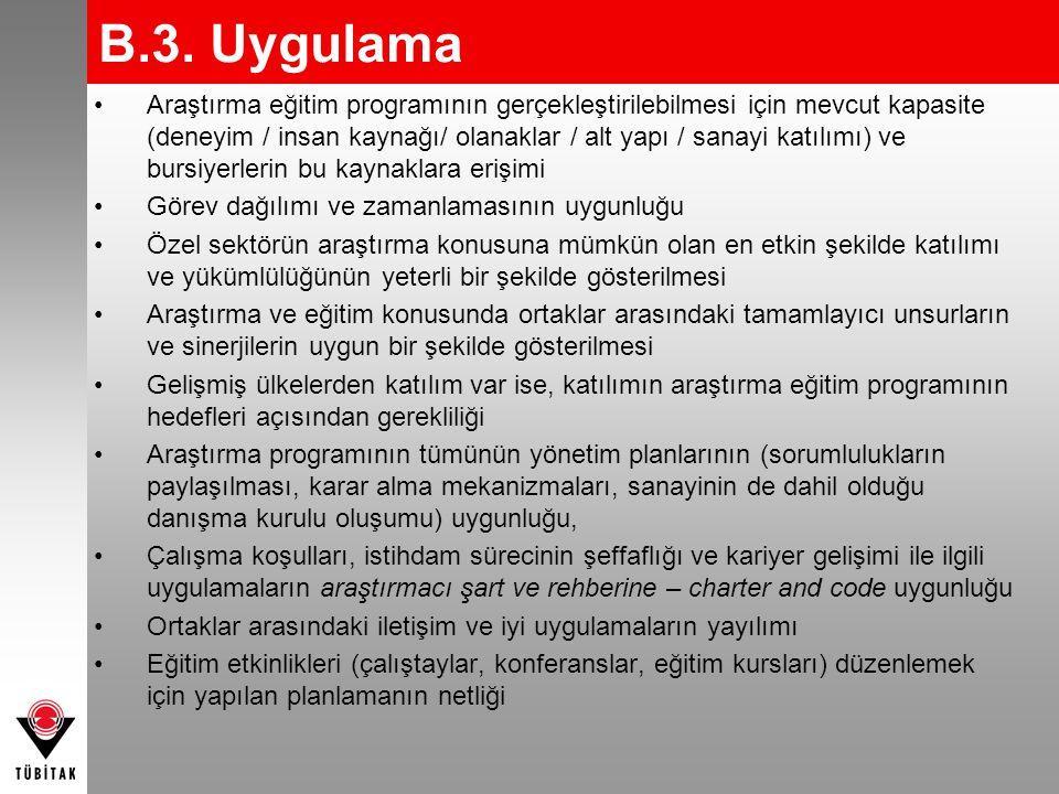 B.3. Uygulama •Araştırma eğitim programının gerçekleştirilebilmesi için mevcut kapasite (deneyim / insan kaynağı/ olanaklar / alt yapı / sanayi katılı