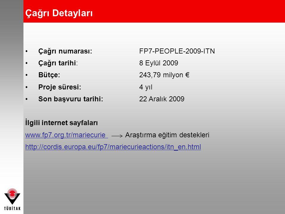 •Çağrı numarası:FP7-PEOPLE-2009-ITN •Çağrı tarihi: 8 Eylül 2009 •Bütçe: 243,79 milyon € •Proje süresi:4 yıl •Son başvuru tarihi: 22 Aralık 2009 İlgili internet sayfaları www.fp7.org.tr/mariecurie Araştırma eğitim destekleri http://cordis.europa.eu/fp7/mariecurieactions/itn_en.html Çağrı Detayları