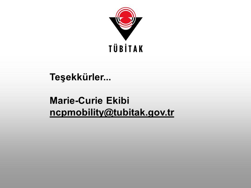 Teşekkürler... Marie-Curie Ekibi ncpmobility@tubitak.gov.tr